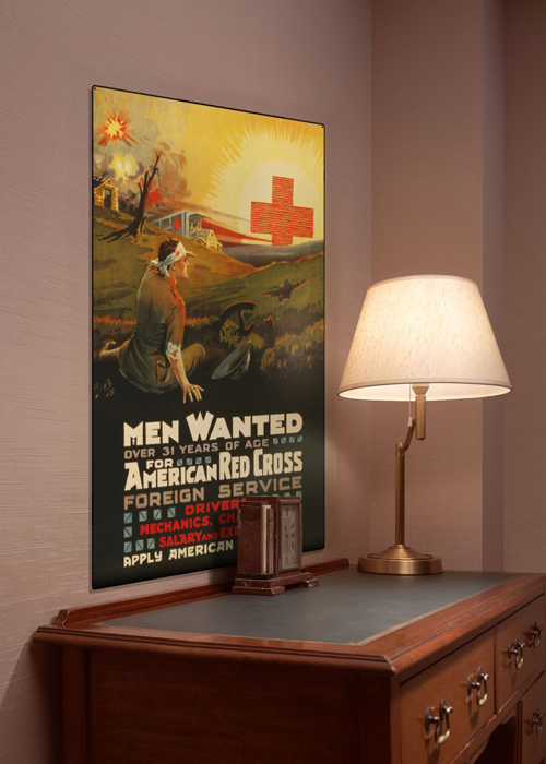 WWI Poster Art Decor Red Cross Men Wanted Steel Metal Vintage Image Wall Decor Art DISPLAY 1