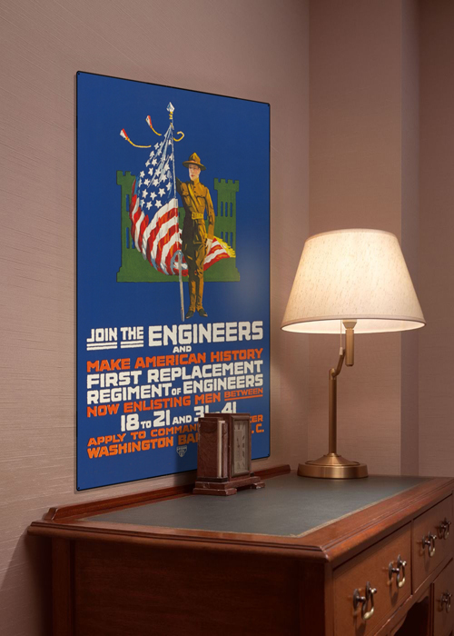 WWI Poster Art Decor US Army Engineers Steel Metal Vintage Image Wall Decor Art DISPLAY