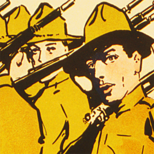 WWI Poster Art Decor National Guard Recruiting Steel Metal Vintage Image Wall Decor Art DETAIL