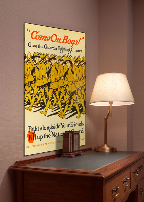 WWI Poster Art Decor National Guard Recruiting Steel Metal Vintage Image Wall Decor Art DISPLAY 1