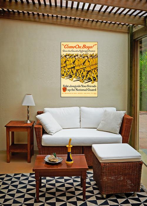 WWI Poster Art Decor National Guard Recruiting Steel Metal Vintage Image Wall Decor Art DISPLAY 2