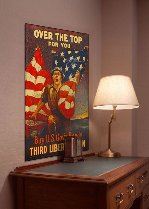 WWI Poster Art Decor Over the Top US Bonds Steel Metal Vintage Image Wall Decor Art DISPLAY 1