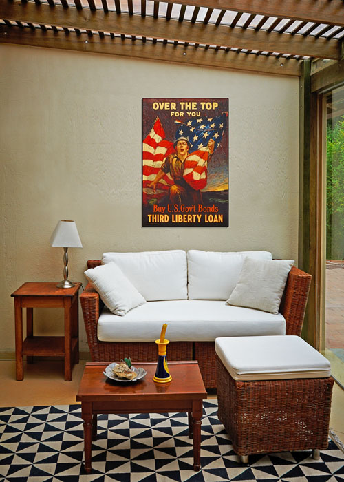 WWI Poster Art Decor Over the Top US Bonds Steel Metal Vintage Image Wall Decor Art DISPLAY 2
