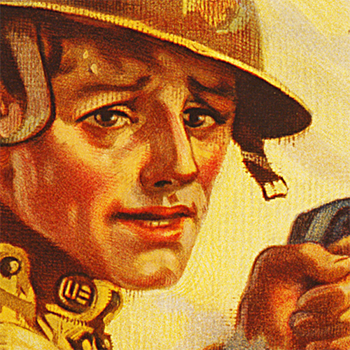 WWI Poster Art Decor War Bonds Buy Ammunition Steel Metal Vintage Image Wall Decor Art DETAIL