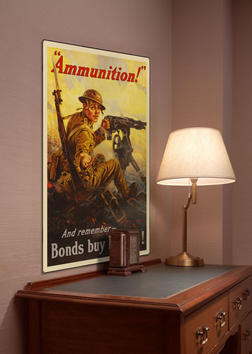 WWI Poster Art Decor War Bonds Buy Ammunition Steel Metal Vintage Image Wall Decor Art DISPLAY 1