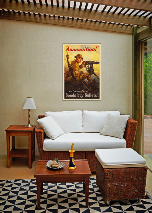 WWI Poster Art Decor War Bonds Buy Ammunition Steel Metal Vintage Image Wall Decor Art DISPLAY 2