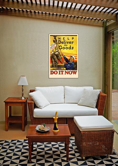 WWI Poster Art Decor US Navy Deliver the Goods Steel Metal Vintage Image Wall Decor Art DISPLAY 2