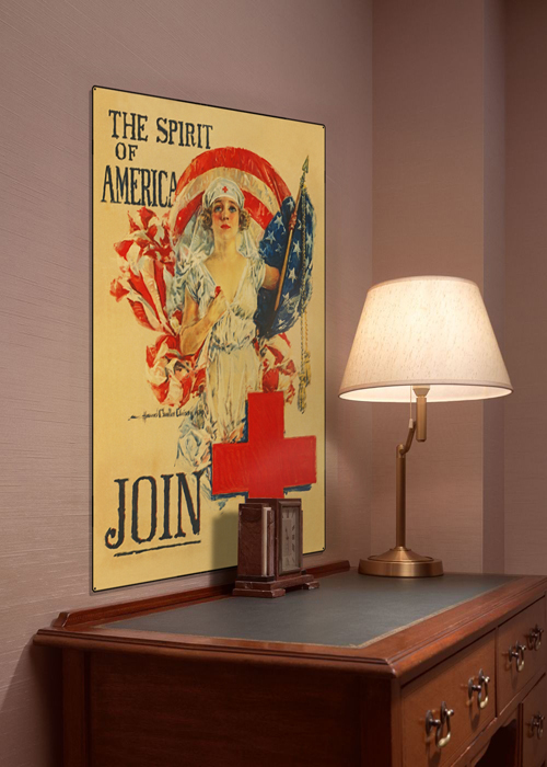 WWI Poster Art Decor Red Cross Spirit of America Steel Metal Vintage Image Wall Decor Art DISPLAY 1