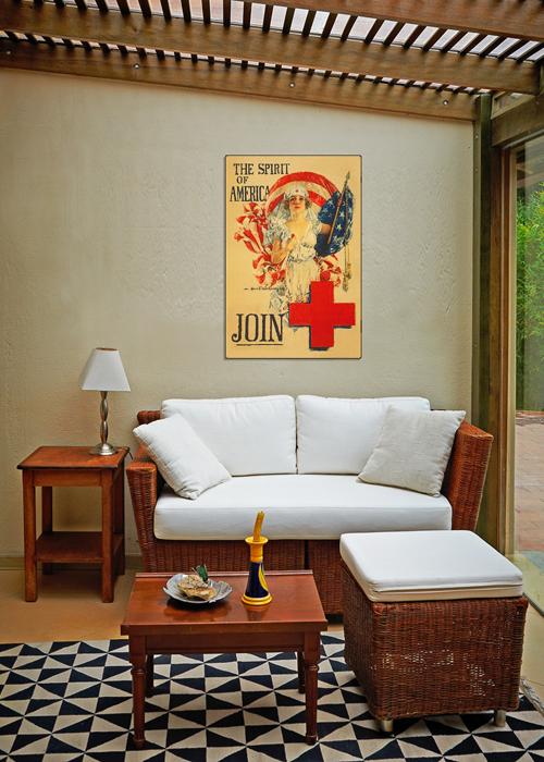 WWI Poster Art Decor Red Cross Spirit of America Steel Metal Vintage Image Wall Decor Art DISPLAY 2