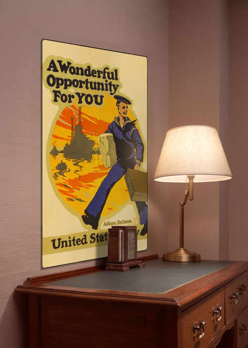 WWI Poster Art Decor USN US Navy Opportunity Steel Metal Vintage Image Wall Decor Art DISPLAY 1