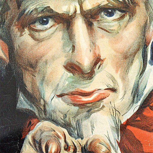 WWI Poster Art Decor Uncle Sam I Want You For US Army Steel Metal Vintage Image Wall Decor Art DETAIL