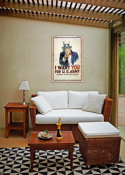 WWI Poster Art Decor Uncle Sam I Want You For US Army Steel Metal Vintage Image Wall Decor Art DISPLAY 2
