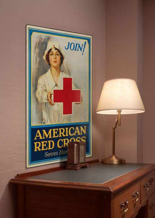 WWI Poster Art Decor Red Cross Serves Humanity Steel Metal Vintage Image Wall Decor Art DISPLAY 1