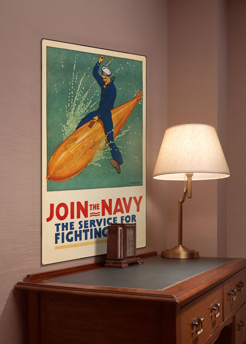 WWI Poster Art Decor Join the Navy Torpedo US Sailor Steel Metal Vintage Image Wall Decor Art DISPLAY 1