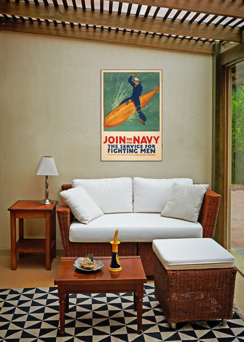 WWI Poster Art Decor Join the Navy Torpedo US Sailor Steel Metal Vintage Image Wall Decor Art DISPLAY 2