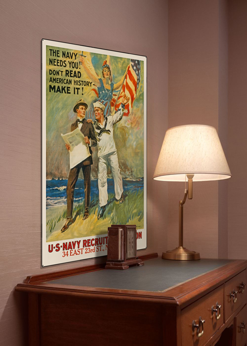 WWI Poster Art Decor US Navy Needs You Steel Metal Vintage Image Wall Decor Art DISPLAY 1