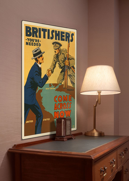 WWI Poster Art Decor Britishers Needed Now Steel Metal Vintage Image Wall Decor Art DISPLAY 1