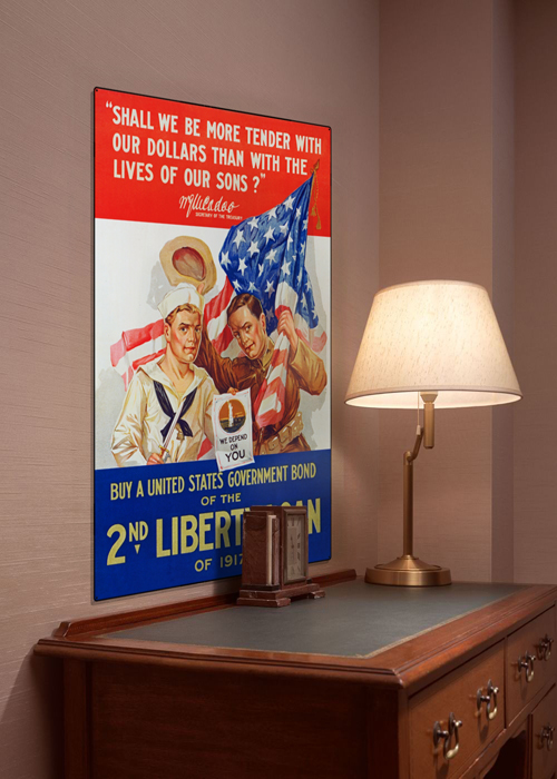 WWI Poster Art Decor 2nd Liberty Loan 1917 Steel Metal Vintage Image Wall Decor Art DISPLAY 1