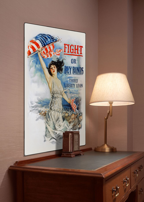 WWI Poster Art Decor Fight or Buy Bonds Steel Metal Vintage Image Wall Decor Art DISPLAY 1