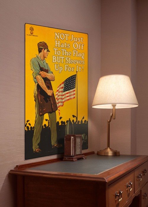 WWI Poster Art Decor Sleeves Up For The Flag Steel Metal Vintage Image Wall Decor Art DISPLAY 1