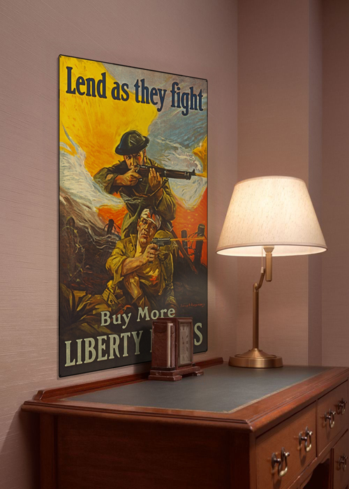 WWI Poster Art Decor Liberty Bonds Lend As They Fight Steel Metal Vintage Image Wall Decor Art DISPLAY 1