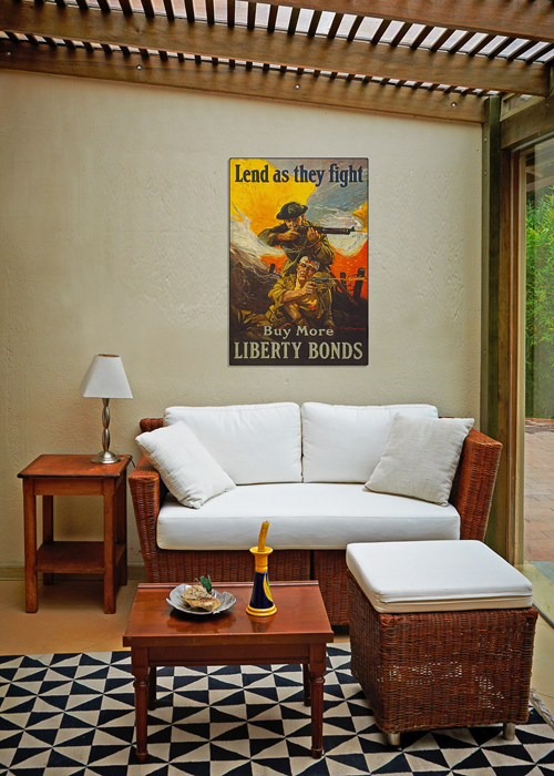 WWI Poster Art Decor Liberty Bonds Lend As They Fight Steel Metal Vintage Image Wall Decor Art DISPLAY 2