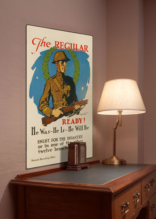 WWI Poster Art Decor Enlist For the Infantry US Army Steel Metal Vintage Image Wall Decor Art DISPLAY 1