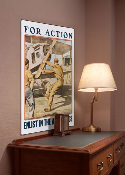 WWI Poster Art Decor Enlist in Air Service For Action Steel Metal Vintage Image Wall Decor Art DISPLAY 1