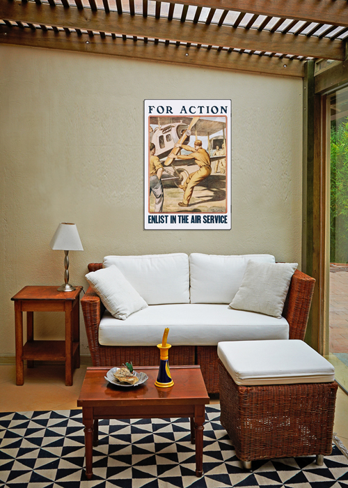 WWI Poster Art Decor Enlist in Air Service For Action Steel Metal Vintage Image Wall Decor Art DISPLAY 2