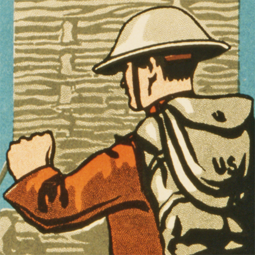 WWI Poster Art Decor Enlist in the Engineers Steel Metal Vintage Image Wall Decor Art DETAIL