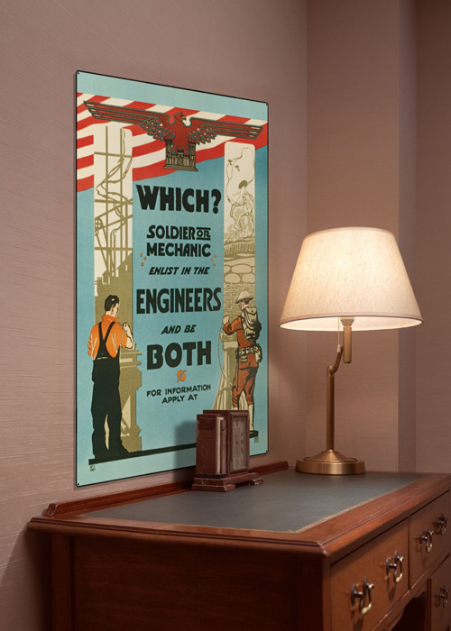 WWI Poster Art Decor Enlist in the Engineers Steel Metal Vintage Image Wall Decor Art DISPLAY 1