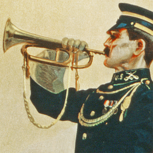 WWI Poster Art Decor Men Wanted For the US Army Bugle Steel Metal Vintage Image Wall Decor Art DETAIL