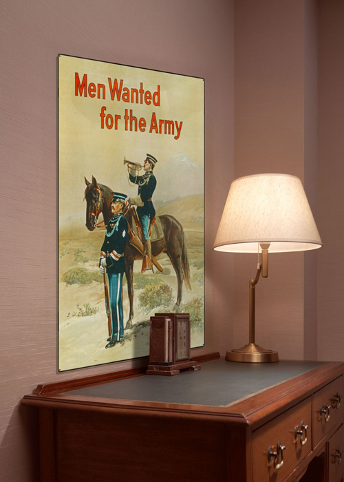 WWI Poster Art Decor Men Wanted For the US Army Bugle Steel Metal Vintage Image Wall Decor Art DISPLAY 1