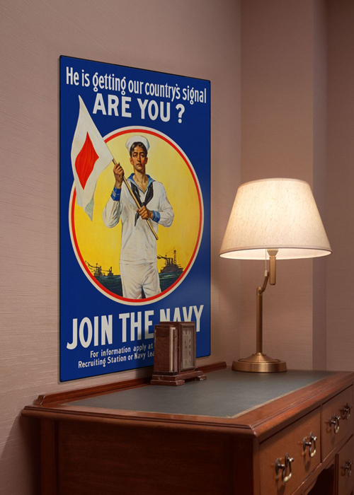 WWI Poster Art Decor Join the US Navy Get the Signal Steel Metal Vintage Image Wall Decor Art DISPLAY 1