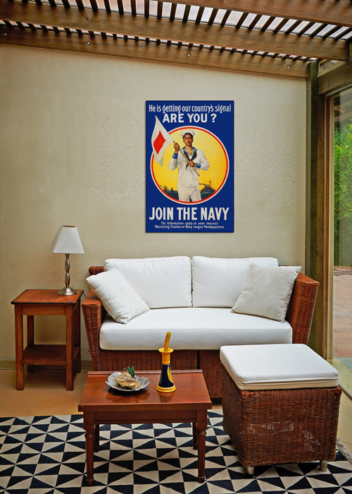 WWI Poster Art Decor Join the US Navy Get the Signal Steel Metal Vintage Image Wall Decor Art DISPLAY 2