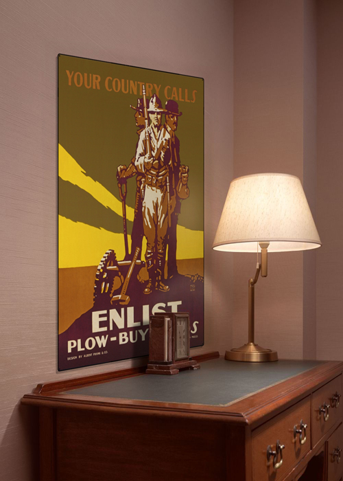 WWI Poster Art Decor Your Country Calls Enlist Plow Buy Steel Metal Vintage Image Wall Decor Art DISPLAY 1