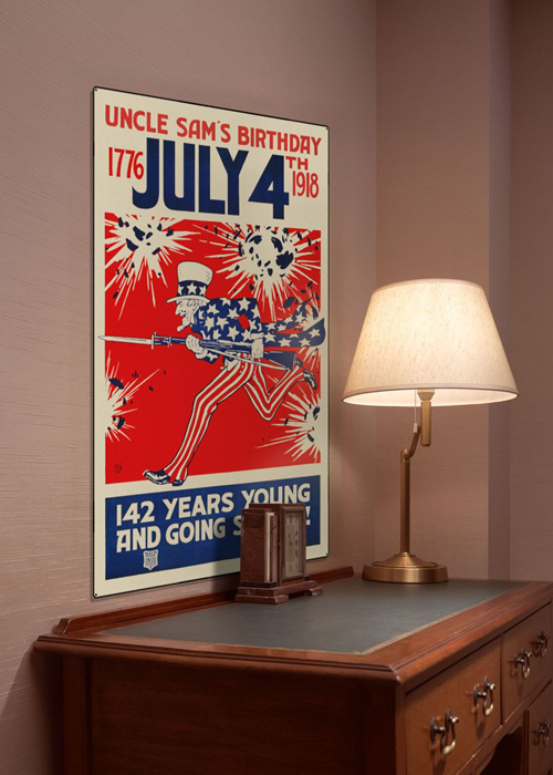 WWI Poster Art Decor July 4th Uncle Sam's Birthday Steel Metal Vintage Image Wall Decor Art DISPLAY 1