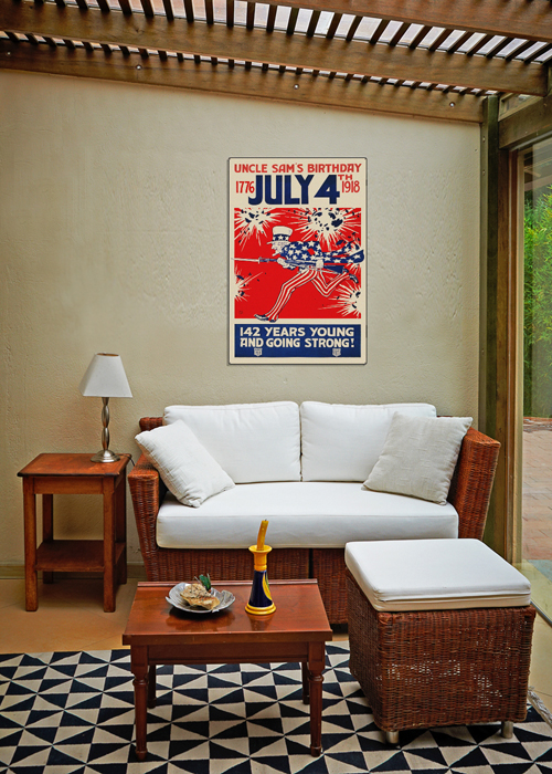 WWI Poster Art Decor July 4th Uncle Sam's Birthday Steel Metal Vintage Image Wall Decor Art DISPLAY 2