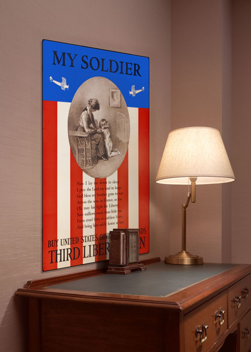 WWI Poster Art Decor My Soldier Liberty Loan Prayer Steel Metal Vintage Image Wall Decor Art DISPLAY 1