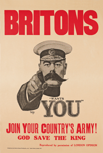 WWI Poster : Misc : Britons, Lord Kitchener Wants You : WW1 Propaganda World War I