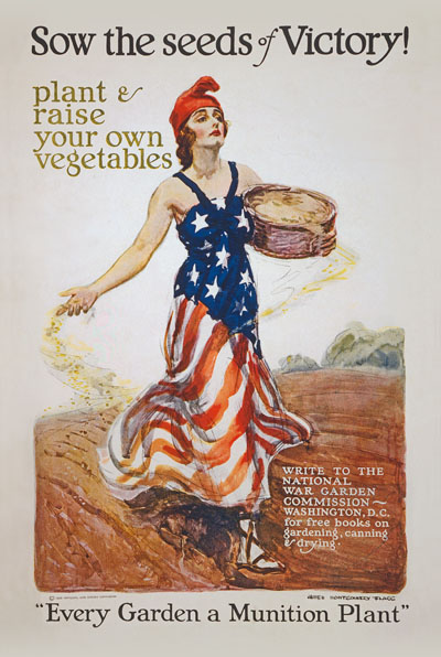WWI Poster : Misc : Victory Garden Sow the Seeds : WW1 Propaganda World War I