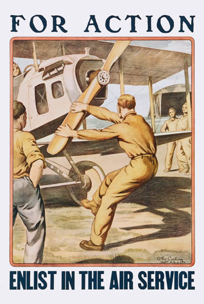WWI Poster : Misc : For Action Enlist in the Air Service : WW1 Propaganda World War I