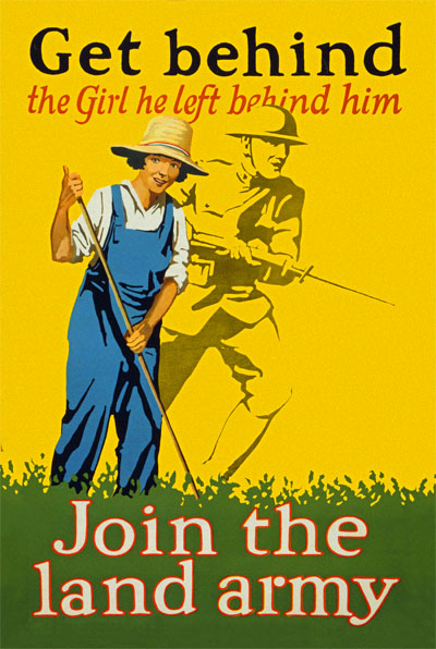 WWI Poster : Misc : Get Behind Her Join the Land Army : WW1 Propaganda World War I