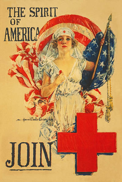 WWI Poster : Red Cross : The Spirit of America : WW1 Propaganda World War I
