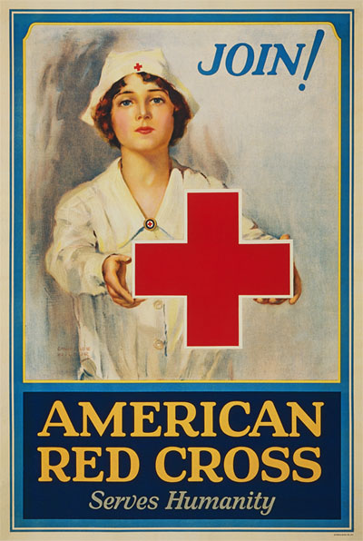 WWI Poster : Red Cross : Serves Humanity : WW1 Propaganda World War I