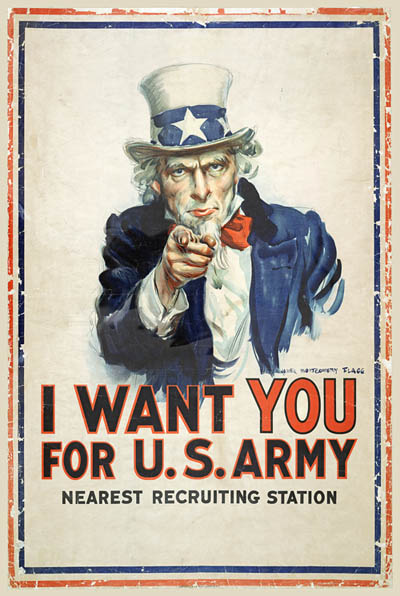 WWI Poster : Uncle Sam : I Want You For US Army : WW1 Propaganda World War I