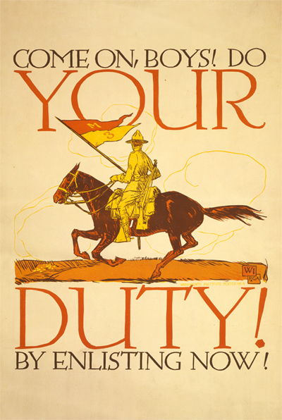 WWI Poster : US Army : Your Duty To Enlist : WW1 Propaganda World War I