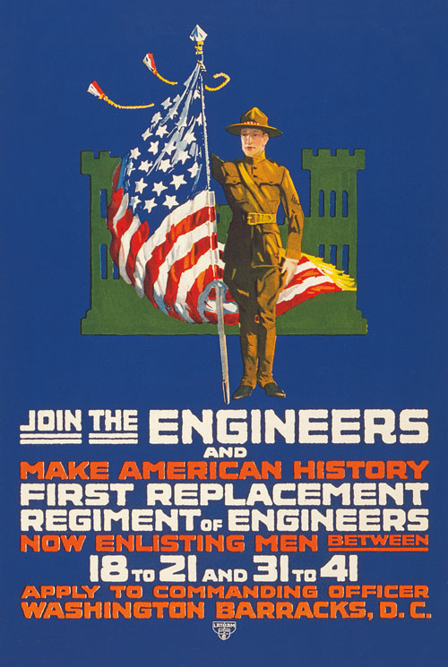 WWI Poster : US Army : Join the Engineers : WW1 Propaganda World War I