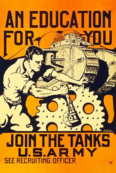WWI Poster : US Army : US Army Tank Corps Recruitment : WW1 Propaganda World War I