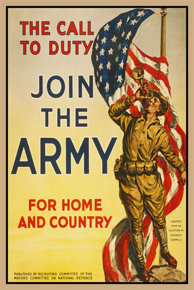 WWI Poster : US Army : The Call of Duty Join the Army : WW1 Propaganda World War I